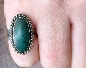 Native American Green Turquoise + Sterling Silver Ring Size 5.5