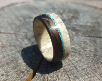 Deer Antler Ring, Antler Men's Ring with Turquoise Inlay, Wrapped Wood Ring, Turquoise Ring, Natural Ring, Mens Ring, Womens Ring, Mens Band