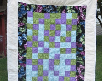 Cool Color Butterfly crib quilt