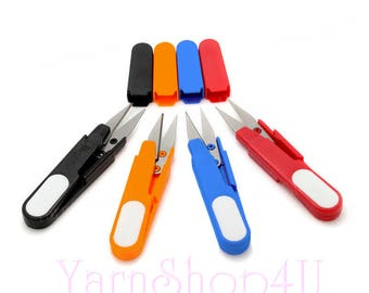 THREAD SCISSORS - Thread Snips. Yarn scissors. Pointy Spring loaded Travel Snip Scissors with point cover. 4 Color Choices. Plastic, Metal.