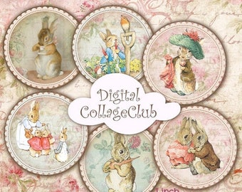 80 % off Graphics SaLe Peter Rabbit 1 inch and 2 inches Digital Collage Sheet Peter Rabbit Party Cupcake Toppers Bottle Caps Images for Bott