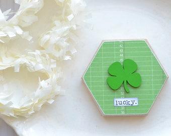 St. Patrick's Day Sign. Green Shamrock Rainbow Wood Hexagon Sign. Lucky. Green Shamrock Lucky Sign. Rainbow Hexagon Wood Gift. St. Patty's.