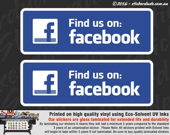 2x Find Us On... Social Network Vinyl Sticker Decal for car, ute, 4x4, window shop business taxi media advertising