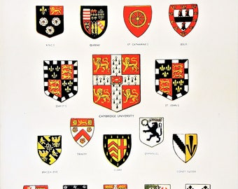 British College Univerity Coat of Arms heraldry crests badges United Kingdom vintage print wall home decor shields Trinity Cambridge