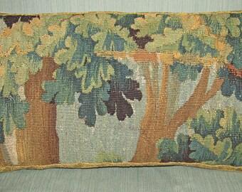 Antique Eighteenth Century Flemish Verdure Tapestry Cushion - Pillow - Trees