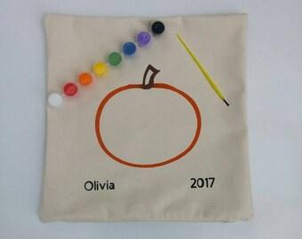 Keepsake DIY Pumpkin Painting Kit Pillow Cover, Kids DIY Painting, Accent Pillow, DIY Kit, Decorative Pillow, Throw Pillow