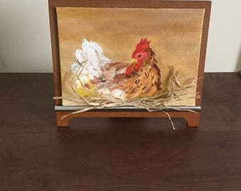 Chicken art, Chick, Hen, Kitchen wall decor, , Oil painting, Hen, Hen painting, Eggs