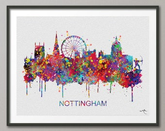 Nottingham Skyline, Nottingham Watercolor Print, England Art Print, Wall Art, Wedding Gift, Travel Wall Decor, Home Decor, Wall Hanging-884