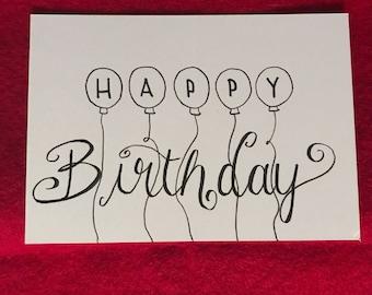 Happy Birthday postcard Black/white with balloons
