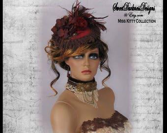 Steampunk Fascinator Victorian Womens Hat Burgundy Velvet Mini Hat Steampunk Womens Floral Hat Steampunk Accessories by SweetDarknessDesigns