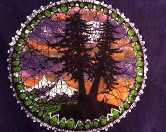 Lg.  purple handmade batik tree silouette t shirt