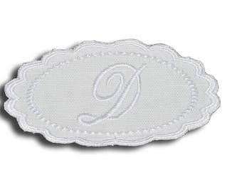"Embroidery patch ""Letter D"" Monogram white"