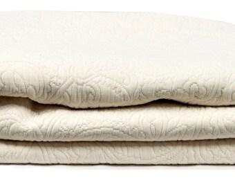 """THROW bed 240 x 260 """"ÉCRU"""" damask fabric"""