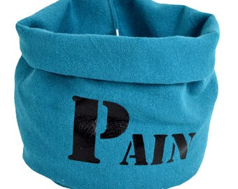 """Bread basket cloth in thick blue + printing """"Bread"""""""