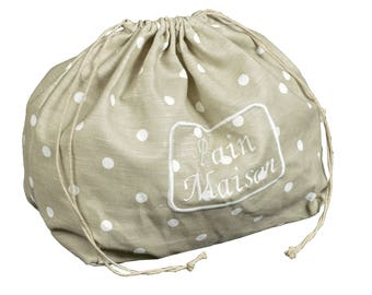 Bread bag with embroidery fabric dots white