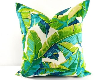 SALE Palm Pillow. Balmoral Opal. Indoor Outdoor Pillow cover. Stain dirt  fade resistant Designer pillow.cushion cover Choose your size.