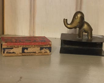 Miniature Brass Elephant Matchbox Holder Vintage 3x3 Inch