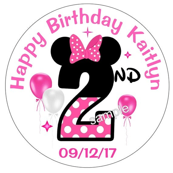 40 MINNIE MOUSE Second 2nd Birthday Party Stickers Free
