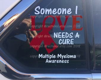 Burgundy Awareness Ribbon Cure Vinyl Window Decal (Brain Aneurysm, Multiple Myeloma, Sickle Cell Anemia, Williams Sydrome)