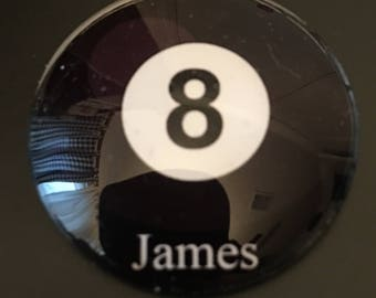 """Personalized Magnetic Pocket Marker  -  """" Pool Ball w/name"""" choose from 15 balls"""
