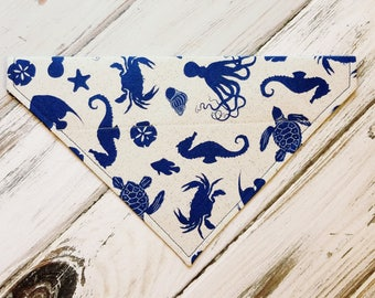SALE Size Medium Ready to Ship Beach Dog Bandana, Dog Scarf, no tie bandana, slip on bandana, pet bandana, doggy scarf