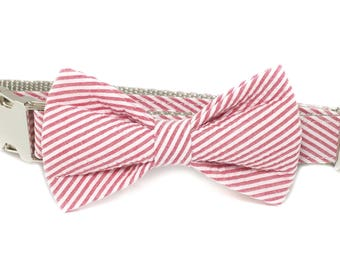 Red Seersucker Diagonal Dog Collar Bow Tie set, preppy, metal or plastic hardware, pet bow tie, collar bow tie, wedding bow tie