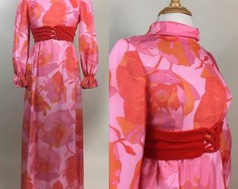 Vintage 60s Sylvia Ann Pink Orange Floral Maxi Dress