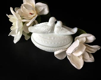 Westmoreland Glass Co...Milk Glass Covered Candy Dish...Milk Glass Doves on Lid Covered Box