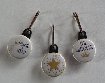 Zip Strap Badge set of 3 Gold Star zipper pull.