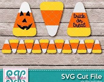 Candy Corn SVG dxf EPS png JPG htv Heat Transfer Vinyl Trick or Treat Halloween Cricut Silhouette Die Cut Sweet Kate Designs