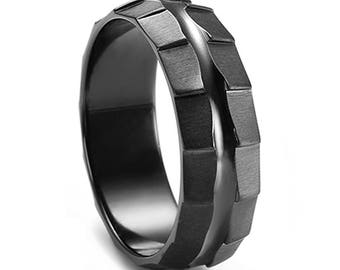 Custom Rotar Black Zirconium Men's Ring