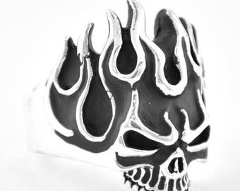 Anniversary SALE Sterling Silver 925 Flaming Skull Ring Made in USA