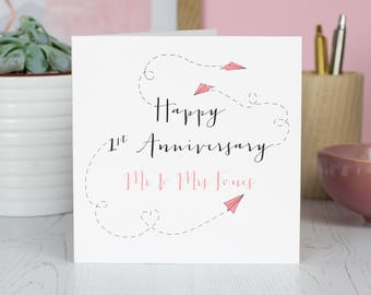 Personalised Paper Planes 1st Anniversary Card