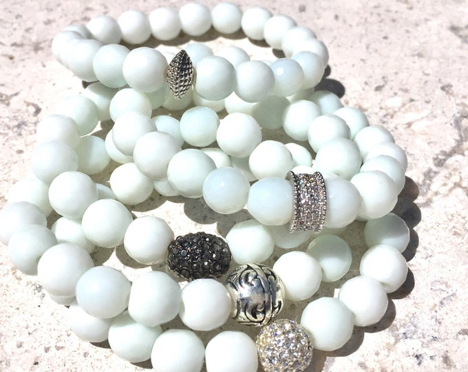 White Jade Bracelet - Neutral Stack Bracelets  -  Ground Gemstone - Faceted 10mm Gemstone - Calming Stone - Girlfriend Gift - Gift for Her