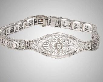 10k Art Deco filigree bracelet with diamond