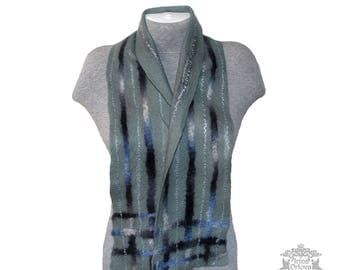 Felted scarf for men, wool scarf,  felt grey scarf, men neck warmer scarf, gift for him, men fashion, wool men scarf, Father's Day Gift
