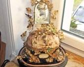 Antique interior of  Globe de Marriage with wax flower /Globe de mariee/ French Wedding Cushion/Antique Bridal tiara stand