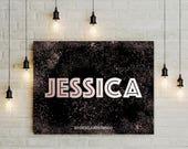 Custom name wall art, Printable rose gold girl's name sign, teen dorm decor, personalized digital pink black nursery decor