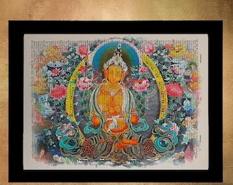 SUMMER SALE-Ends July 5- Buddhist Mandala Dictionary Art Print Zen Buddhism Tibetan Meditating Wall Art Home Decor Fine Tibet Meditation da6