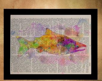 SALE-SHIPS Aug 22- Salmon Watercolor Dictionary Art Print Orange Fish Marine Life Wall Art Home Decor Upcycled Book da674