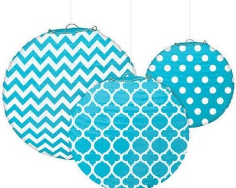 Set Of Three Turquoise & White Beautifully Patterned Paper Lanterns In 3 Sizes - Wedding - Anniverary - Birthday - All Occasion Party Decor