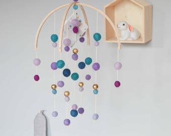 Purple & Gold Baby mobile - french Alps decoration