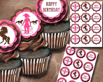 Cowgirl Cupcake Toppers Instant Download Printable Cupcake Toppers