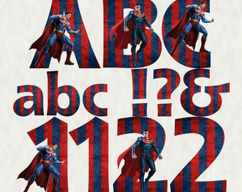 Superman Alphabet   Instant Download   Digital Letters and Numbers   Printable Letters and Numbers   Superman Font Clipart