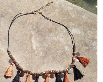 Leather rock necklace