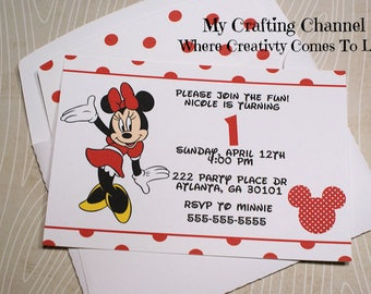 Red Minnie Mouse #2 Birthday Invitations With Matching Envelopes-Invites-Invitations-Birthday-Birthday Invitations