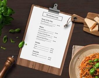 restaurant menu etsy. Black Bedroom Furniture Sets. Home Design Ideas