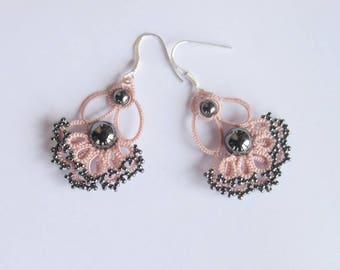 Chandelier earrings Lace earrings pink or blue gemstone jewelry tatting handmade naturel crystal hematite sterling silver earring findings
