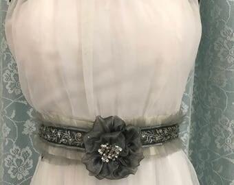 Grey and Silver wedding dress belt