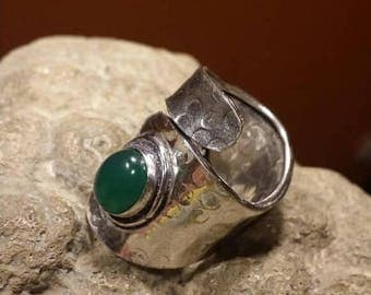 Holiday SALE 85 % OFF Green Onyx Adjustable Size Ring Gemstone 925 Sterling Silver